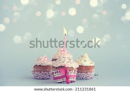 Birthday cupcakes - stock photo