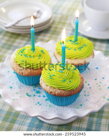 Birthday cupcakes. Selective focus with only the top of the front candle in focus. - stock photo