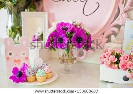 Birthday decor. Dessert table. - stock photo