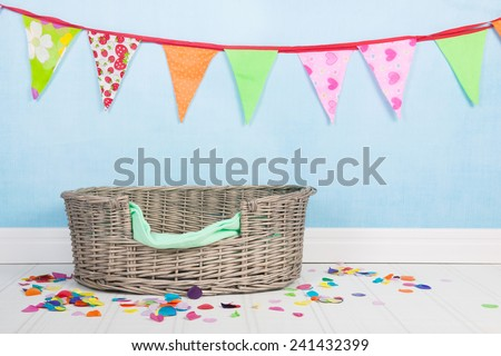 Birthday for the cat or the dog with flag chain and basket - stock photo