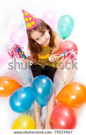 Birthday girl and gifts - stock photo
