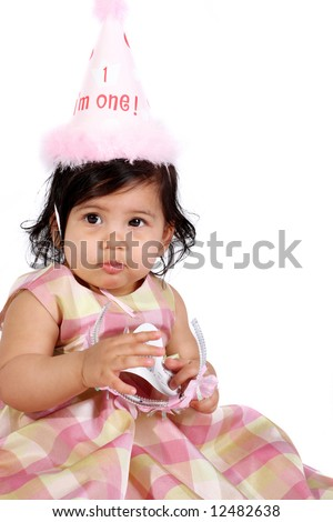 Birthday girl on white background