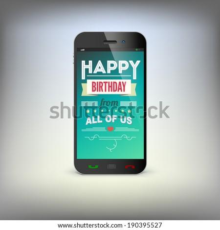 Birthday Greeting Card On Screen Mobile Stock Illustration 190395527