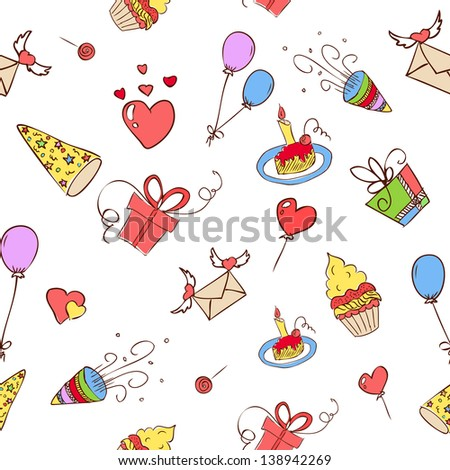 birthday hand drawn icons seamless. Raster copy of vector illustration - stock photo