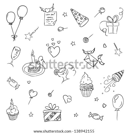 birthday hand drawn sketch icons. Raster copy of vector illustration - stock photo