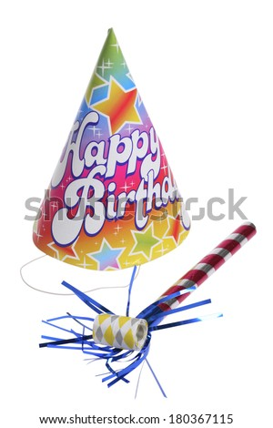 Birthday hat and noise maker on white  - stock photo