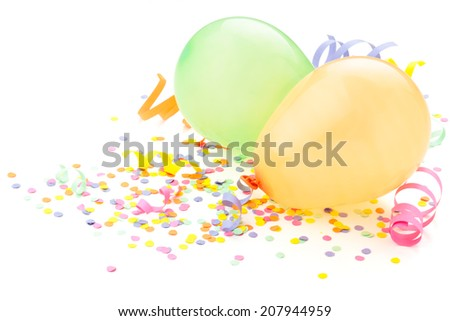 Birthday (holiday party) arrangement. Balloons and confetti isolated on white. - stock photo