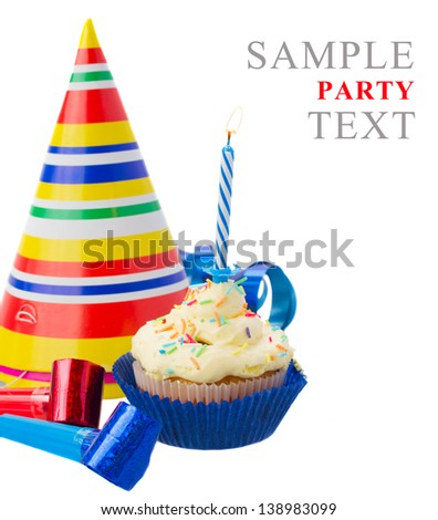 birthday homemade cupcake with one burning  candle on white background - stock photo
