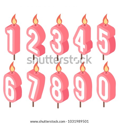 Birthday Number Candles 1 2 3 4 5 6 7 8 9 0 Set Fire Isolated