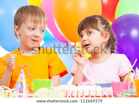 birthday of cute funny kids twins - stock photo
