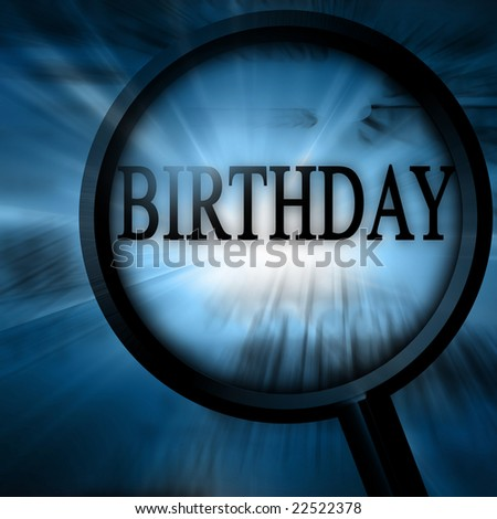 birthday on a blue background with a magnifier on it