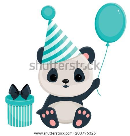 Birthday panda with gift box and balloon. Panda in blue - stock photo