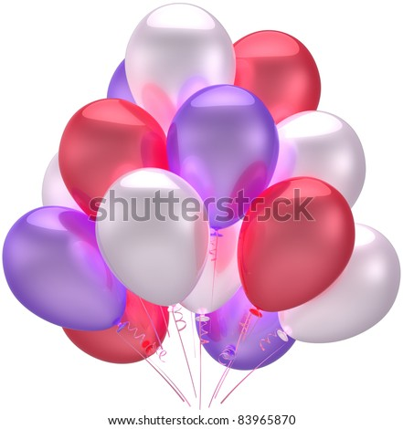 Birthday party balloons decoration beautiful multicolored. Anniversary holiday graduation retirement celebration concept. Childish happy joy abstract. Detailed 3d render. Isolated on white background - stock photo