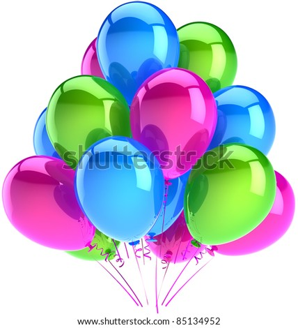 Birthday party balloons holiday decoration blue pink green colorful. Anniversary celebrate graduation retirement greeting card concept. Happy abstract. Detailed 3d render. Isolated on white background - stock photo