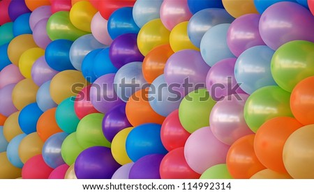 Birthday Party Balloons; rainbow colors, blue, pink, red, yellow, purple, orange, and green; colorful abstract multicolor image for happy birthday card