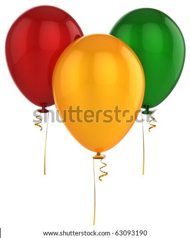 Birthday party balloons three blank colored red yellow green. Anniversary graduation retirement greeting card concept. Happy New Year Merry Christmas. Detailed 3d render. Isolated on white background - stock photo