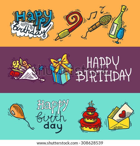 Birthday party celebration sketch decorative colored banner set with cake gifts champagne glass isolated  illustration. - stock photo