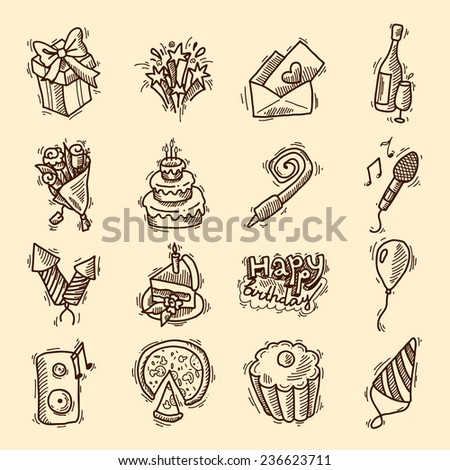 Birthday party celebration sketch decorative elements set with cake gifts champagne glass isolated  illustration - stock photo