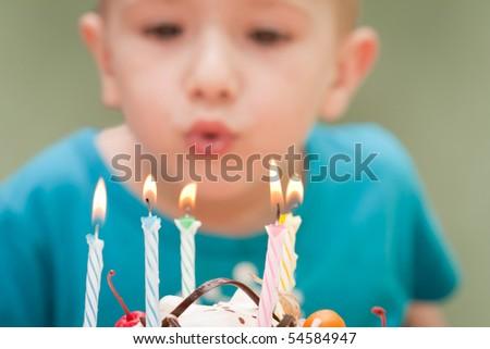 Birthday party celebration sweet cake food candle - stock photo