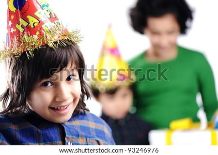 Birthday party children group family - stock photo
