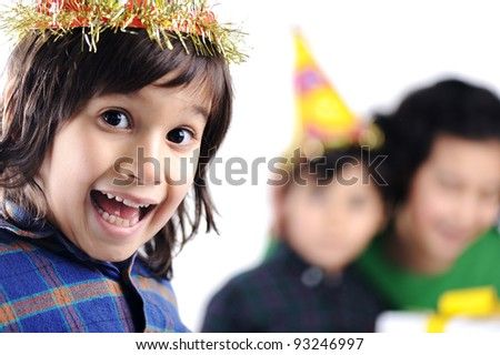 Birthday party children group family - stock photo