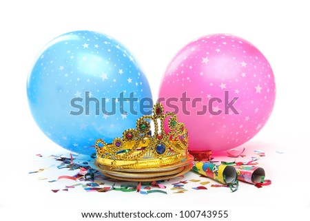 Birthday party decorations on white background - stock photo