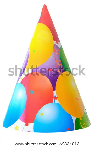 birthday party hat isolated on white - stock photo