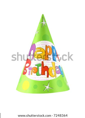 Birthday party hat isolated on white background - stock photo