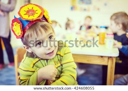 Birthday party in kindergarten - stock photo