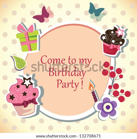 birthday party invitation card - stock photo