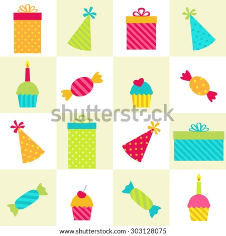 Birthday party seamless pattern. Raster version - stock photo
