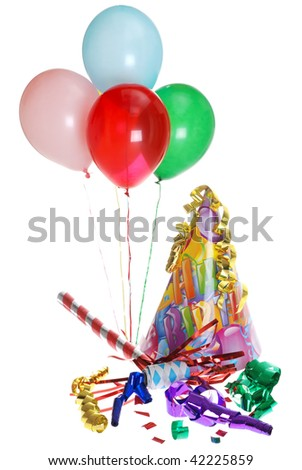 Birthday Party Supplies With Balloons - stock photo