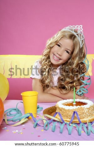 birthday party with little blond happy girl - stock photo