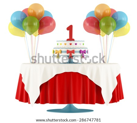 Birthday party with round table with cake ,gift and balloon isolated on white - 3D Rendering - stock photo