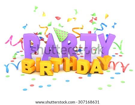 Birthday party words on white background. - stock photo