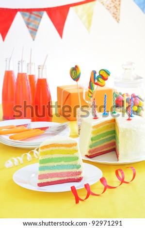 Birthday rainbow cake - stock photo