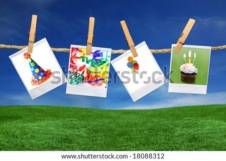 Birthday Related Images on instant photo Film Blanks Hanging Outdoors on a Rope - stock photo