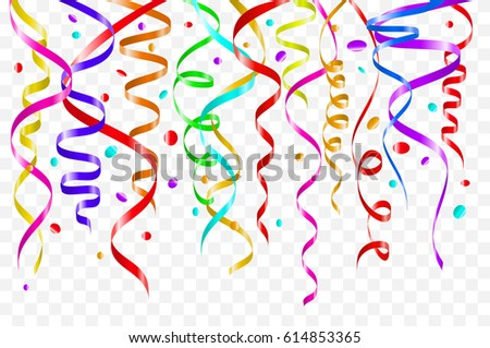 Birthday white background with curling streamers and confetti, illustration. tinsel color art