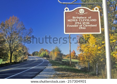 Birthplace of Moses Cleveland along scenic Route 109 north of Canterbury, Connecticut - stock photo