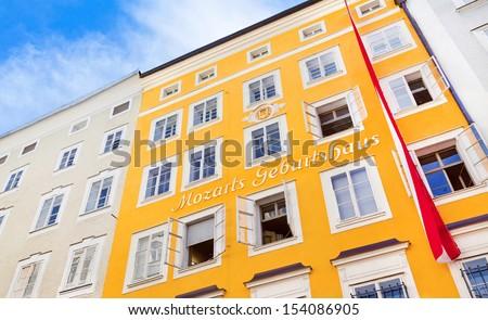 Birthplace of Wolfgang Amadeus Mozart in Salzburg, Austria - stock photo