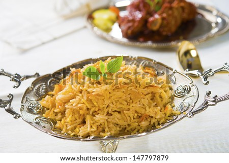 Biryani chicken rice with traditional india food  - stock photo