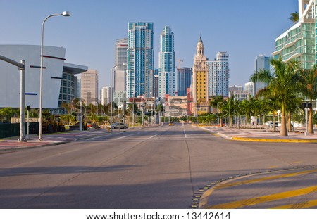 Biscayne Boulevard and Downtown Miami - stock photo