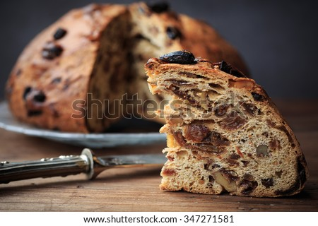 Bisciola, traditional nuts and figs bread for Christmas of Valtellina valley, Italy - stock photo