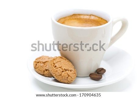 biscotti cookies and cup of espresso, isolated on white - stock photo