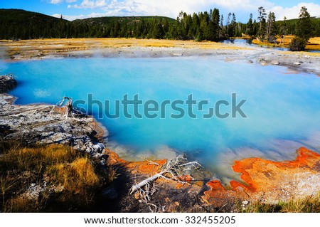 Biscuit Basin,Yellowstone National Park,Wyoming - stock photo