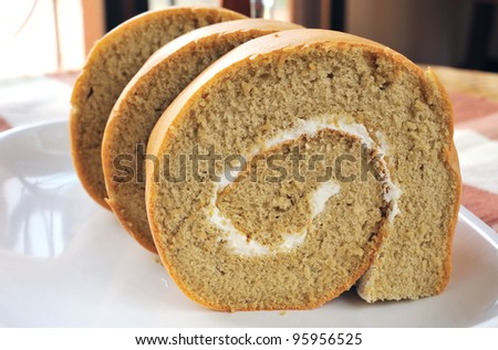 biscuit roll with cream - stock photo