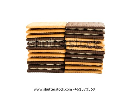biscuit sandwich crackers on a white background
