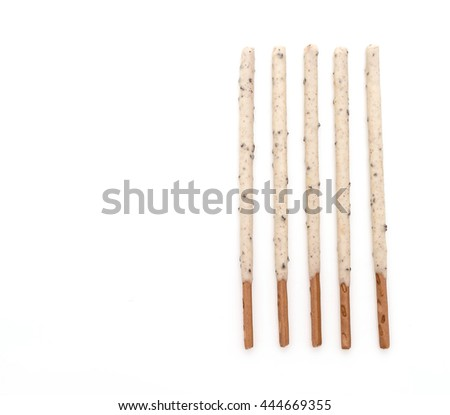 biscuit stick with cookie and cream flavored on white background