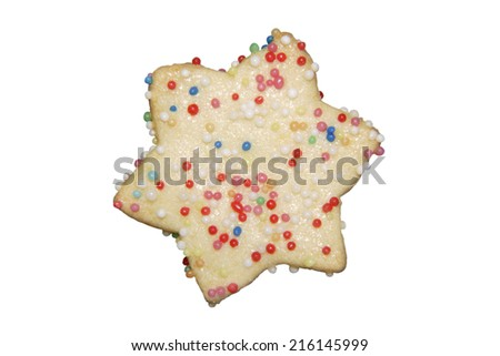 Biscuit with sugar pearls, elevated view - stock photo