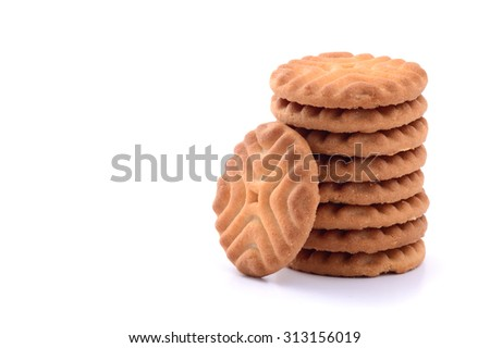 BISCUITS - A stack of delicious biscuits isolated on white, Cookies  - stock photo